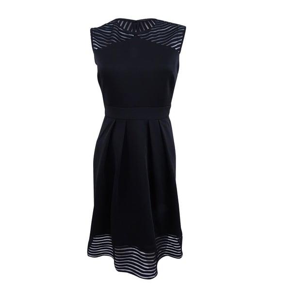 Sandra Darren Women's Petite Illusion Stripe Fit & Flare Dress. Opens flyout.