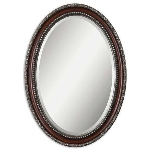 Dark Mahogany Wood Oval Beveled Mirror