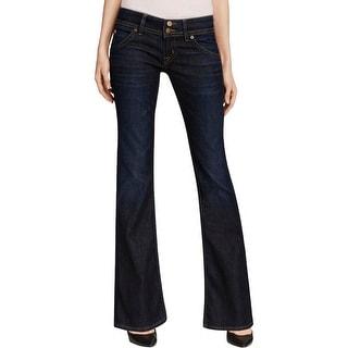 Hudson Womens Signature Bootcut Jeans Denim Dark Wash