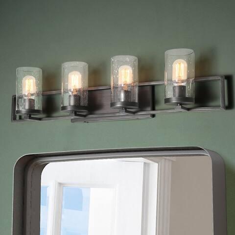 "Modern 4-Light Bathroom Vanity Lights Linear Glass Wall Sconces - 31.5""L x 7.5""H"