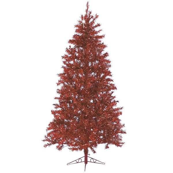 7.5' Sparkling Ruby Pre-Lit Laser Tinsel Artificial Christmas Tree - Ruby Lights - RED