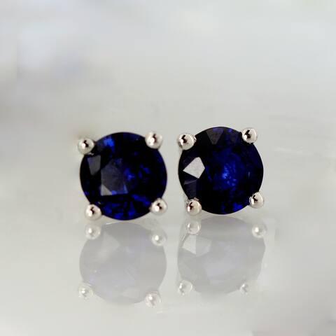 Auriya 14k Gold Round Sapphire Stud Earrings 1/2ctw