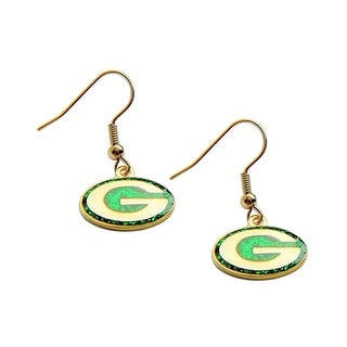 Green Bay Packers Glitter Sparkle Dangle Logo Earring Set Charm Gift NFL