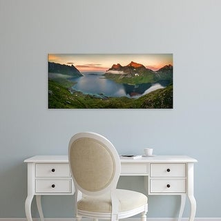 Easy Art Prints Panoramic Images's 'Colorful mountains and fjord, Moskenes, Lofoten, Nordland, Norway' Canvas Art
