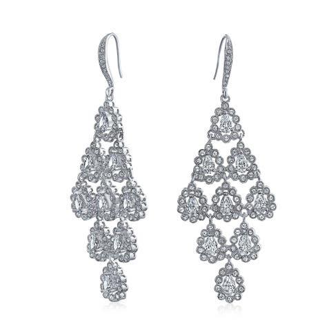 Bridal Waterfall Multi Teardrop Marquise Dangle Chandelier Earrings