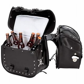 BNFUSA Beer Bags 4 Pieces PVC Studded Motorcycle Saddlebag Insulate