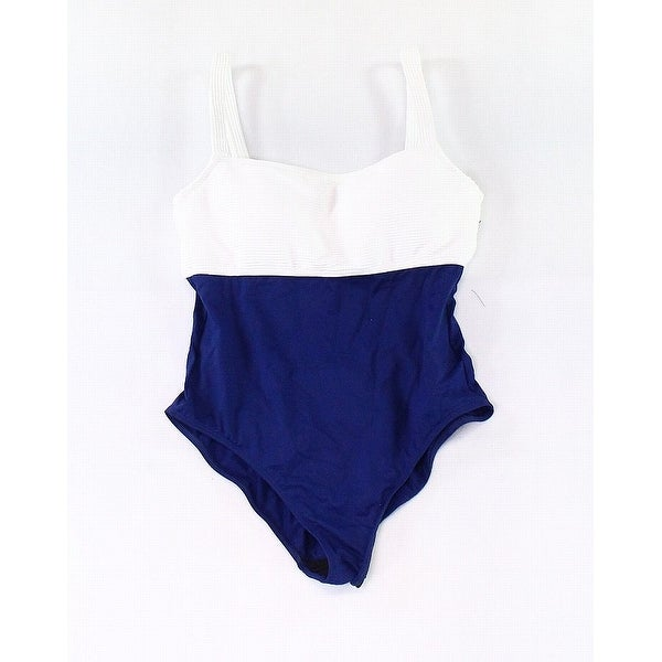 212ccd9bc9 Shop Lauren by Ralph Lauren Blue Womens Size 10 One-Piece Swimsuit - Free  Shipping Today - Overstock - 28095181