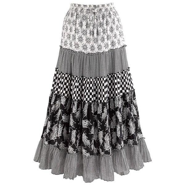 "Women's Patchwork Black And White Maxi Skirt - Elastic Waist - 36"" Long"