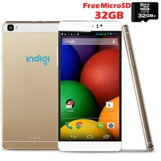 "Indigi® 3G Factory Unlocked 6"" DualSim SmartPhone Android 5.1 Lollipop w/ WiFi + Bluetooth Sync + 32gb microSD Included - GOLD"