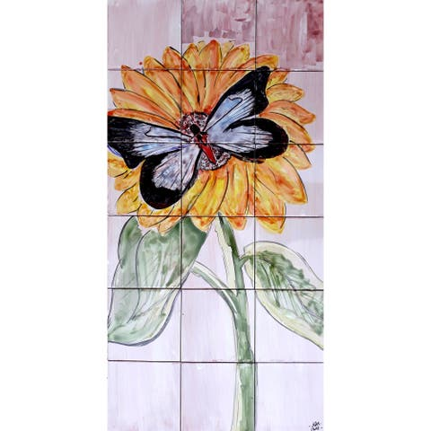 18in x 36in Sunflower Butterfly Mosaic 18pc Tile Ceramic Wall Mural