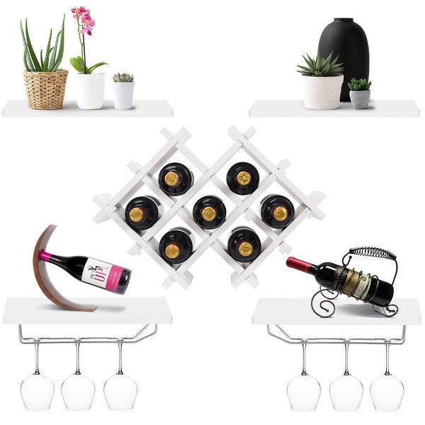 Shop Gymax Set Of 5 Wall Mount Wine Rack Set Storage Shelves And