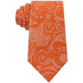 SEAN JOHN NEW Orange White Western Paisley Printed Men's Silk Necktie