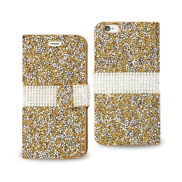 REIKO IPHONE 6 JEWELRY RHINESTONE WALLET CASE IN GOLD