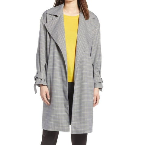 Halogen Women's Coat Gray Size Medium M Tie Sleeves Plaid Belted
