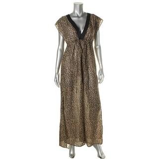 MICHAEL Michael Kors Womens Animal Print Deep V-Neck Dress Swim Cover-Up