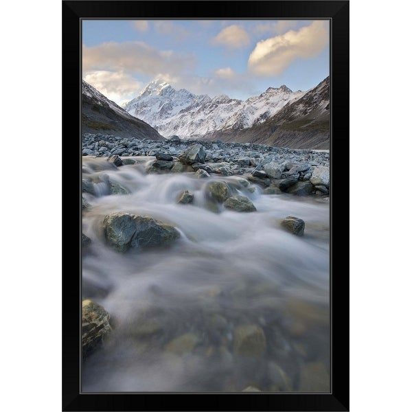 """""""Small stream in Mt Cook National Park, New Zealand."""" Black Framed Print"""