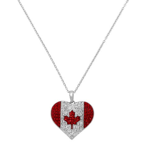 Canada Flag Heart Pendant with Crystals in Sterling Silver, 18 Inches - White
