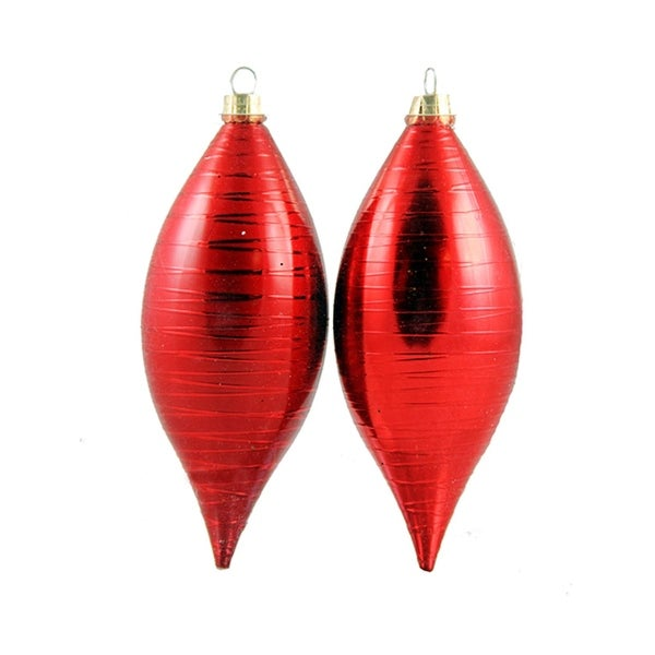 2ct Matte Red Drizzled Line Shatterproof Christmas Finial Ornaments 5""