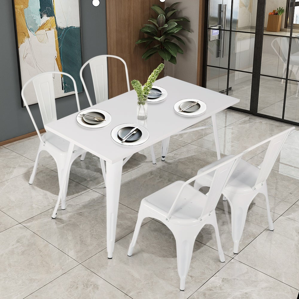 VECELO 5-piece Dining Set Metal/ Iron Table with Chairs Set
