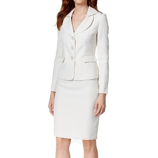 Le Suit NEW White Ivory Women's Size 18 Three-Button Skirt Suit Set