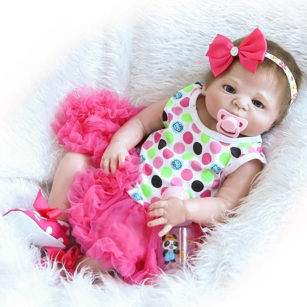 "23"" Beautiful Full Simulation Silicone Baby Girl Reborn Baby Doll in Dress. Opens flyout."