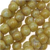 Czech Glass Druk Round Beads 4mm Lt Olive Picasso (100)
