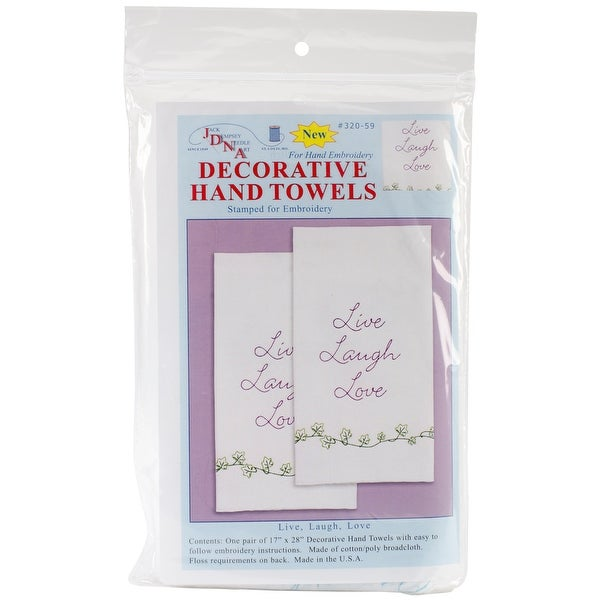 "Stamped White Decorative Hand Towel Pair 17""X28""-Live, Laugh, Love"