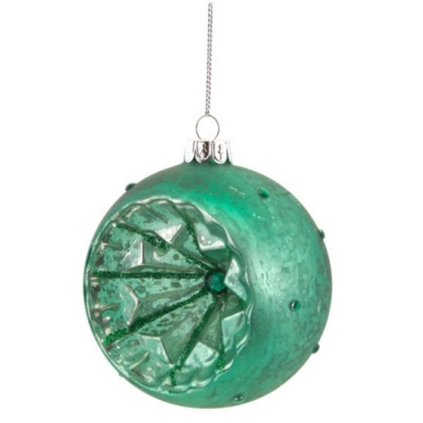 "4"" Green Glitter Glass Ball Retro Reflector Christmas Ornament"
