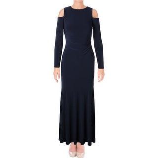 Lauren Ralph Lauren Womens Evening Dress Open Shoulder Gathered