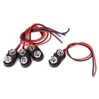 9 Volt Black Battery Buckle Clip Holder I Type Connector Lead Wire Cord 4 Pcs