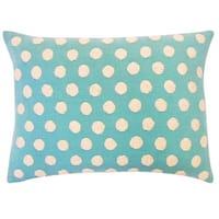 Vivai Home Turquoise Cotton Ball Rectangle 12x 20 Feather Throw Pillow - Blue