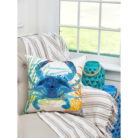 Blue Crab Coastal Indoor/Outdoor 18x18 Decorative Accent Throw Pillow