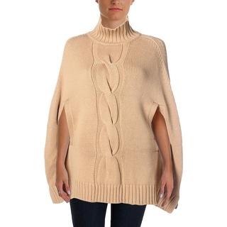 525 America Womens Wool Mock Turtleneck Poncho Sweater - o/s