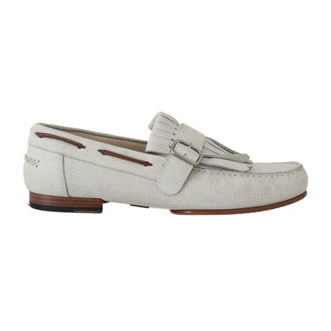 White Leather Moccasin Loafers Men's Shoes