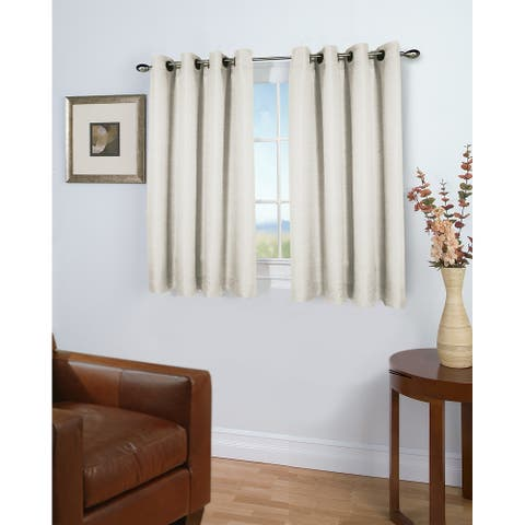 Porch & Den Peete Grasscloth Grommet Short Panel with Pull Wand