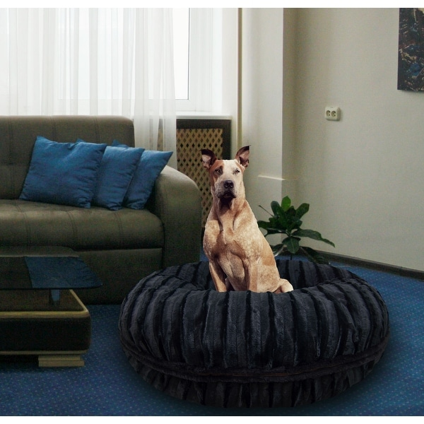Bessie and Barnie Signature Black Puma Luxury Extra Plush Faux Fur Bagel Pet / Dog Bed. Opens flyout.