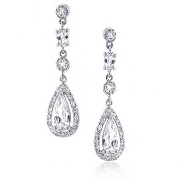 Bling Jewelry Bridal Teardrop Cz Chandelier Earrings 925 Sterling Silver