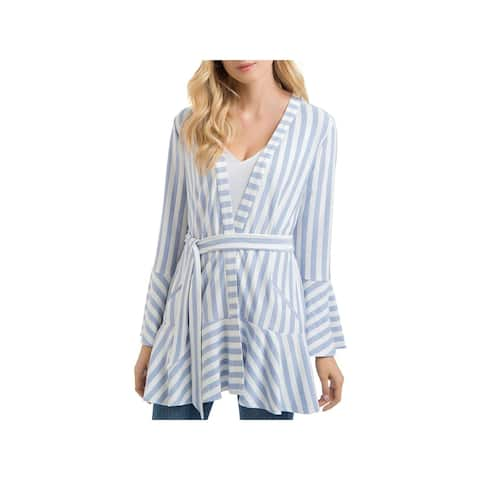 Lysse Womens Alice Wrap Top Striped Bell Sleeves - M