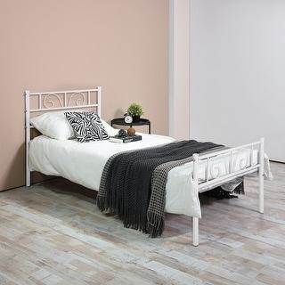 Twin/Full Size Metal Bed Frame Platform Headboards Furniture Bedroom - White