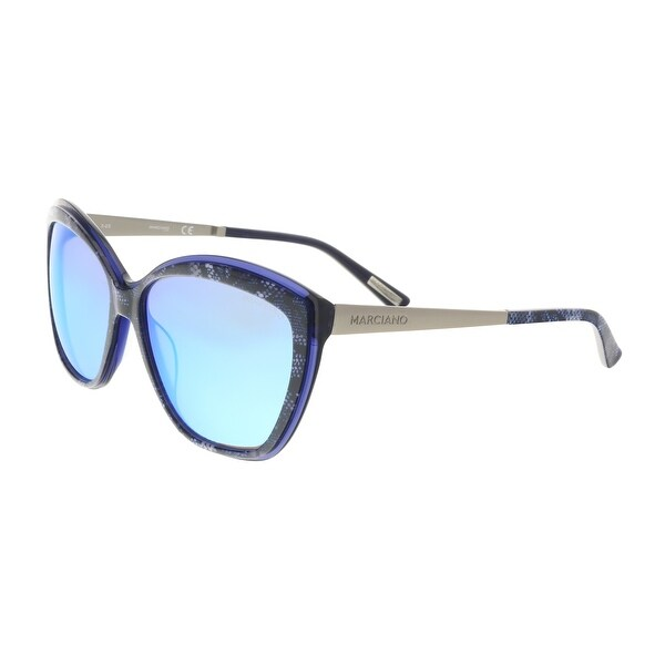 7bb1dec6750c3 Shop Guess by Marciano GM0738 92X Navy Silver Cat Eye Sunglasses ...