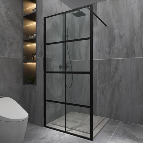 "ExBrite-Gold 34"" x 74"" Shower Door,Shower Screen,Walk-in Black finish,Clear Tempered Glass - 34'' x 74''"