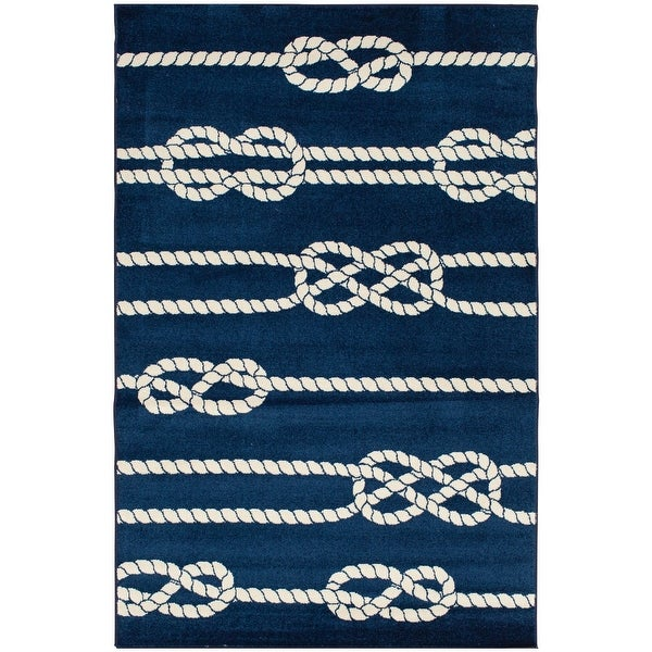 Tecopa Navy Nautical Rope Design Indoor Outdoor Woven Area Rug. Opens flyout.