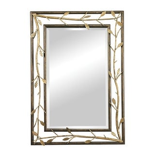 """40"""" Bronze Metal Frame with Gold Leaves Rectangular Wall Mirror"""