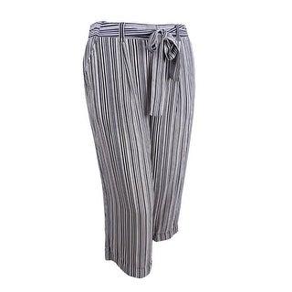 JPR Women's Striped Tie-Waist Culottes - IVORY/BLACK