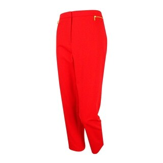 Calvin Klein Women's Zip-Detail Ankle Pants (Tango Red, 10) - Tango Red - 10