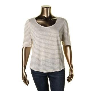 Lauren Ralph Lauren Womens Plus Casual Top Linen Striped