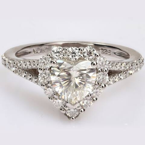 Miadora 1 1/2ct DEW Heart-cut Moissanite Halo Split Shank Engagement Ring in Sterling Silver
