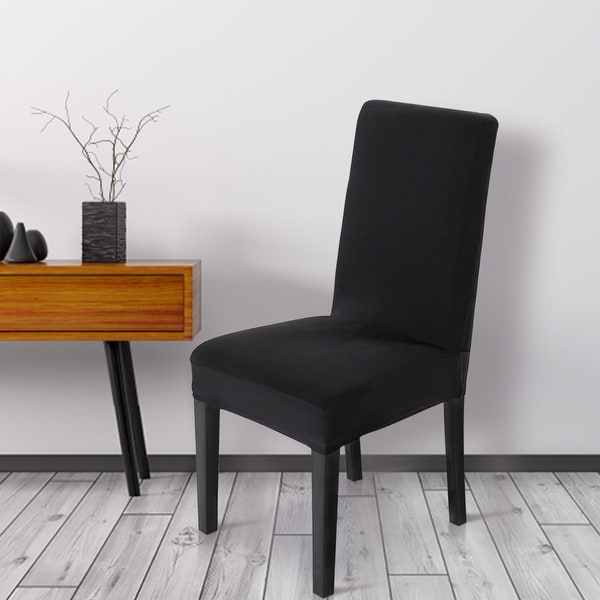Dining Room Chair Back Covers: Shop Unique Bargains Black Spandex Stretch Washable Dining