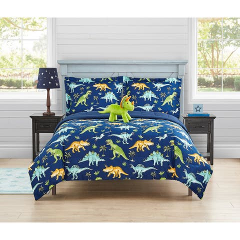 Watercolor Dinosaur Ultra Soft 4 PC Comforter Bedding Set