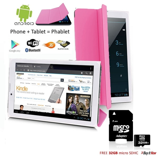"Indigi® 7.0"" HD Unlocked 3G (2-in-1)Android 4.4 SmartPhone & TabletPC w/ Built-in Smart Cover + 32gb microSD (Pink) - Pink"